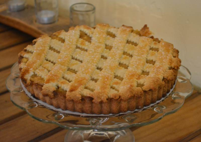 lattice topped quince pear tart baked by a student at a Madeleine Effect PopUP baking class