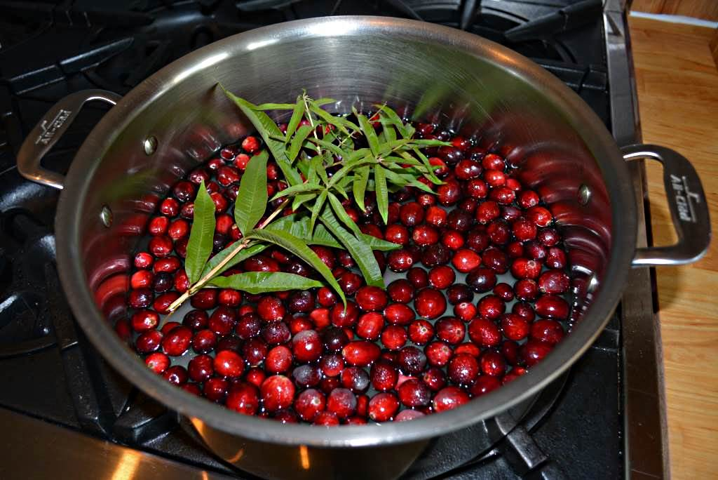 Cook the cranberries, water, sugar, and lemon verbena for ten minutes.