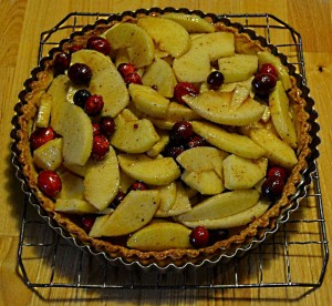 Apple cranberry tart ready to bake