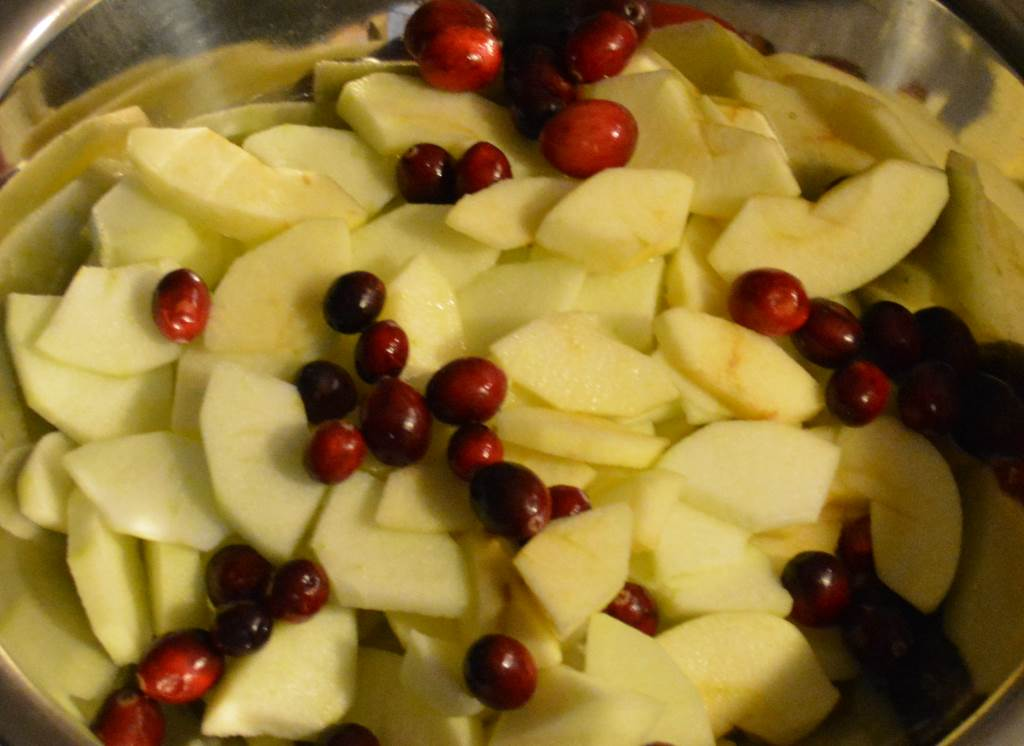 Two kinds of Apples and dry picked Bandon cranberries in mixing bowl