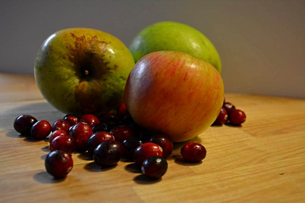two kinds of apples and dry picked harvest Bandon cranberries