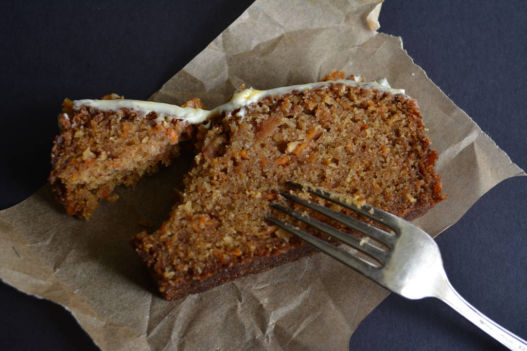 Slice of Carrot Cake with Goat Cheese Frosting