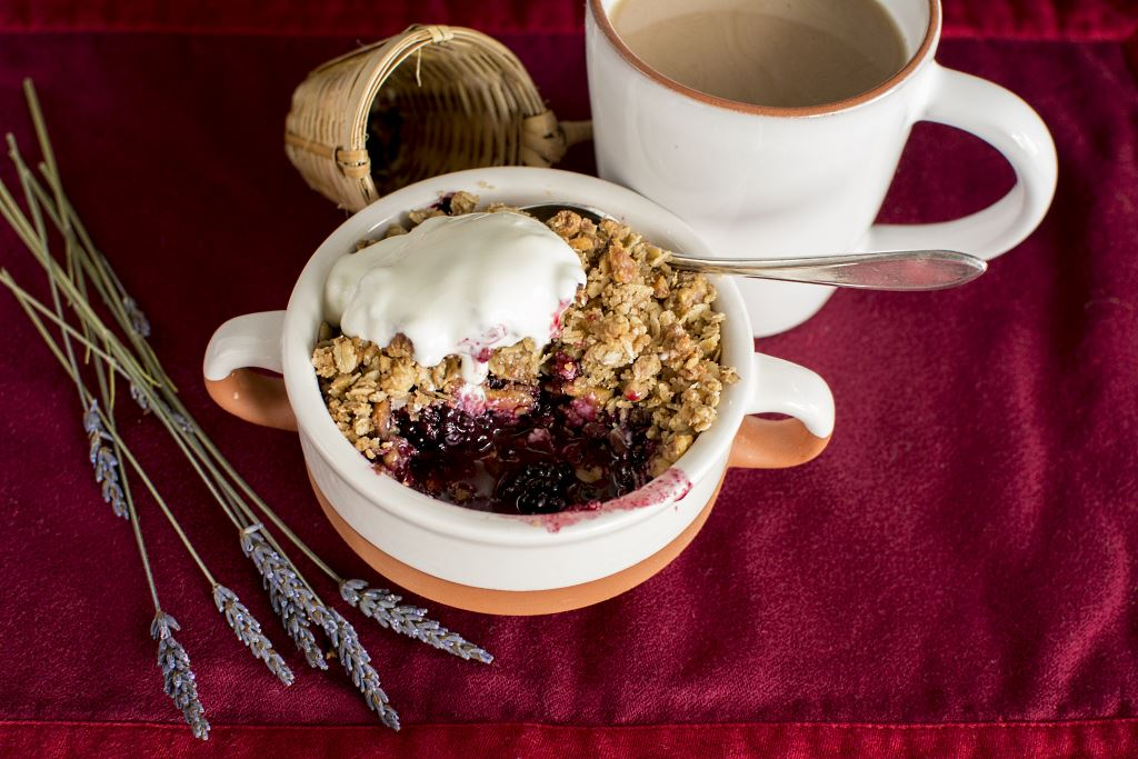 Who could resist a Breakfast Lavender Berry Crisp with Lavender Chai