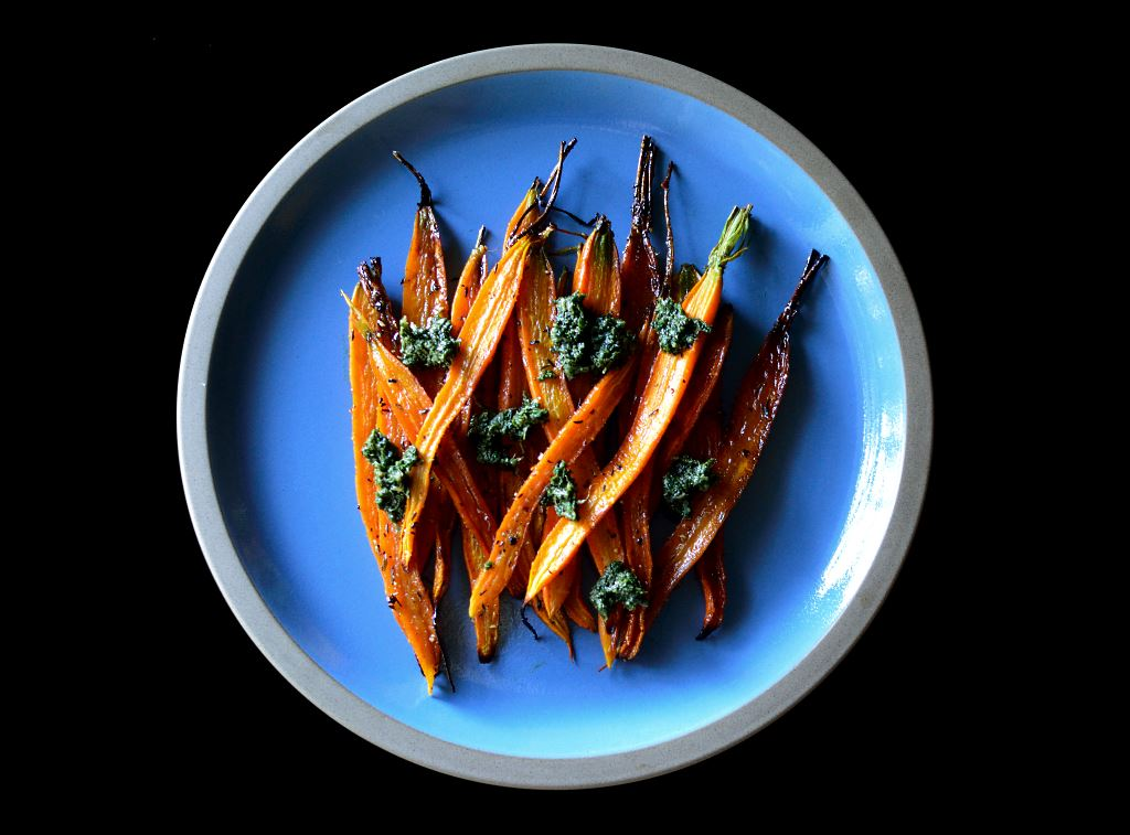 Carrot Top Pesto with Honey Roasted Carrots