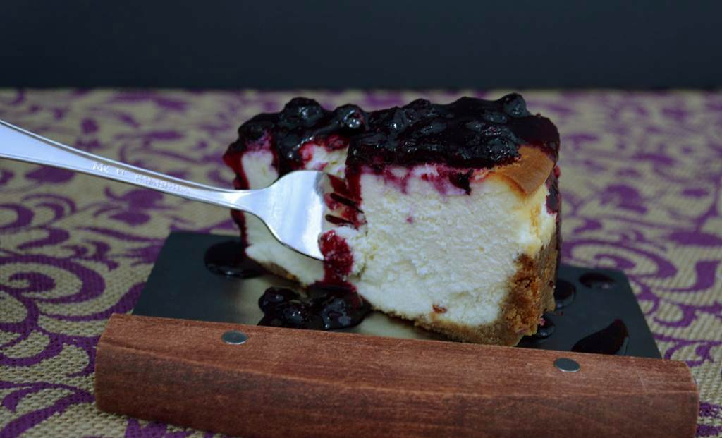 Huckleberry Cheesecake with Fork