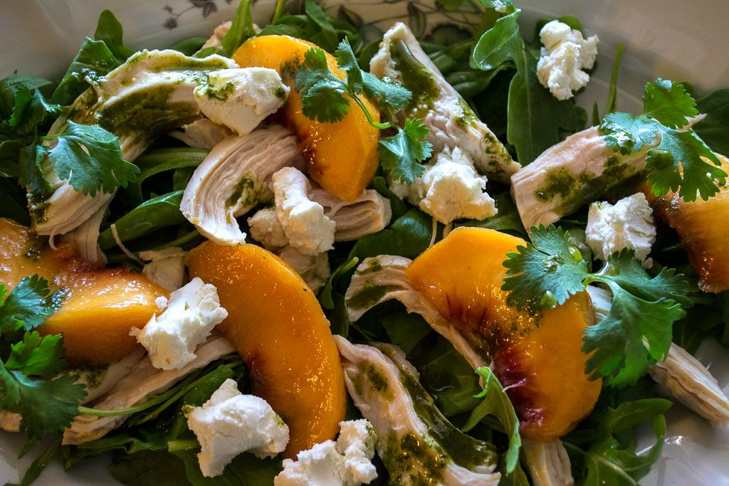 Pickled Peach Salad with Basil Vinaigrette