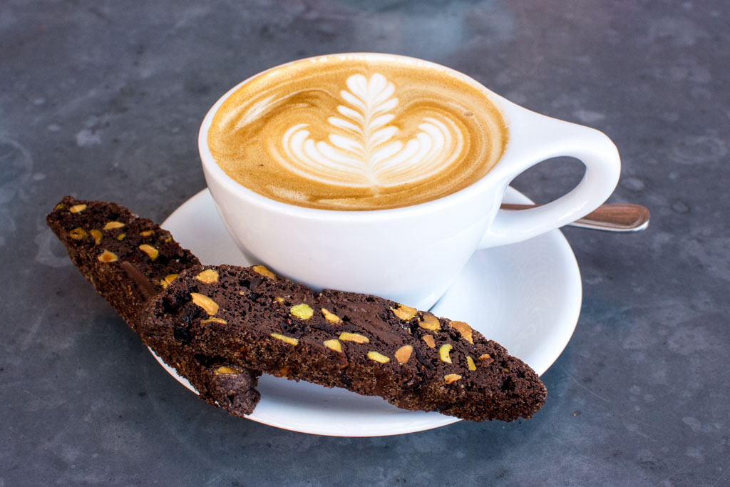 Chocolate Pistachio Cranberry Biscotti with Bartavelle Cafe latte