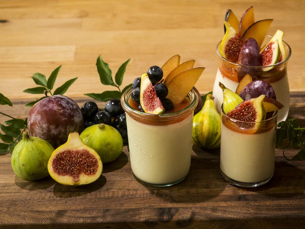 Jasmine Tea Panna Cotta with Seasonal Fruit